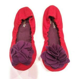 kate spade forty winks red ballet slippers 6 nwot